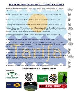 Programa de actividades en Tarifa, febrero 2013