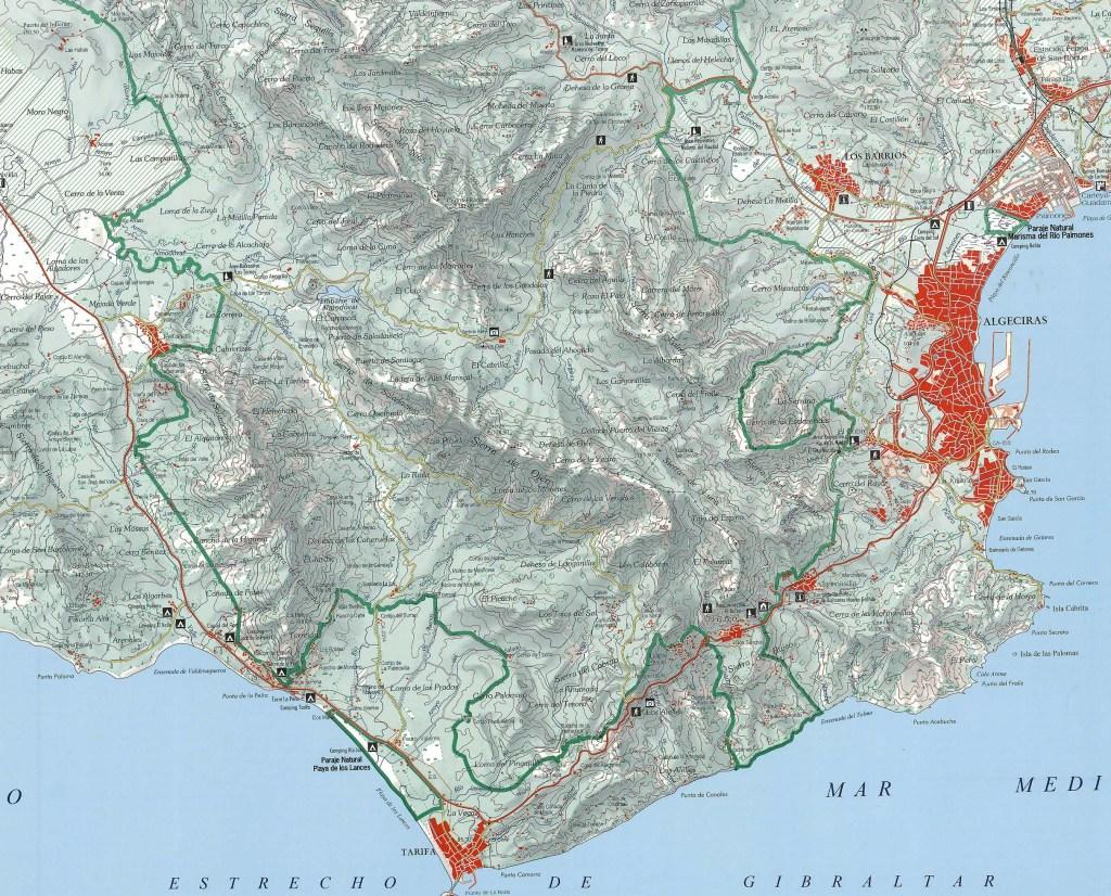 Mapa del Parque Natural de Los Alcornocales.