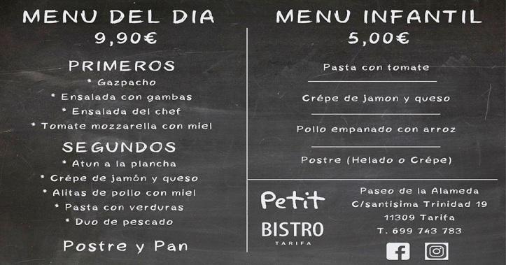 Menu Petit Bistro Restaurante