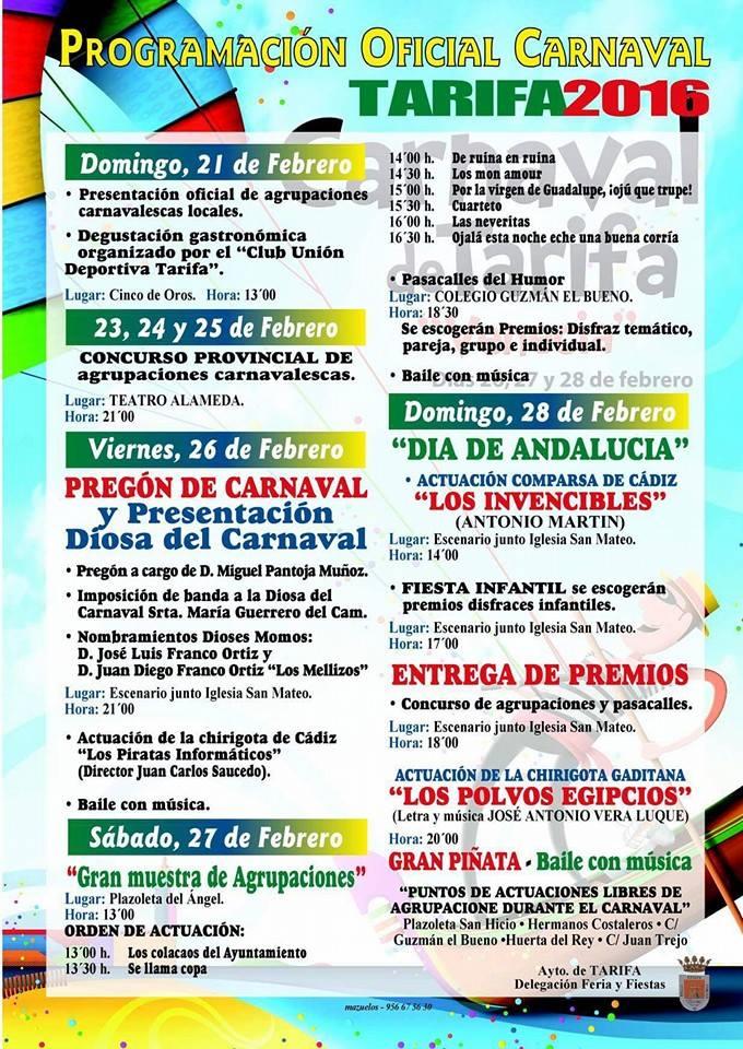 Programación oficial carnaval Tarifa 2016
