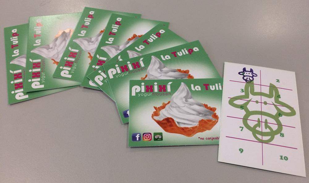 Tarjeta de pixixi yogurfrousen cuando se complete la tarjeta con 10 sellos regalan la tulipa de helado