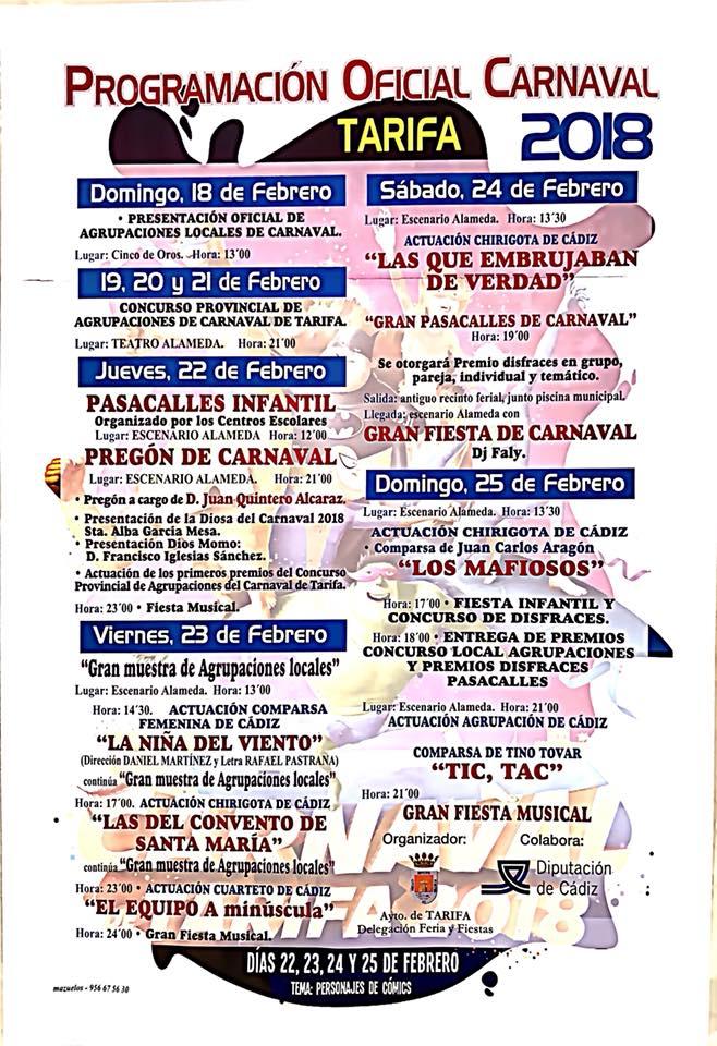 Programa de Carnaval en tarifa 2018