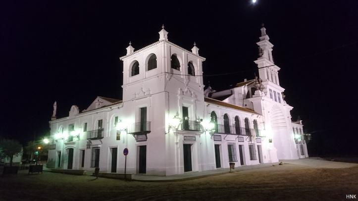 La ermita El Rocío por la noche