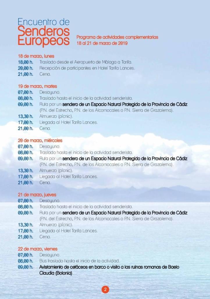Programa Encuentro Senderos Europeos 18 al 22 de marzo 2019