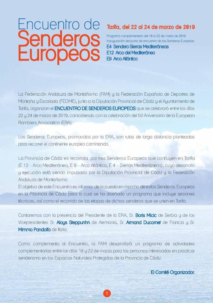 Programa Encuentro Senderos Europeos Tarifa